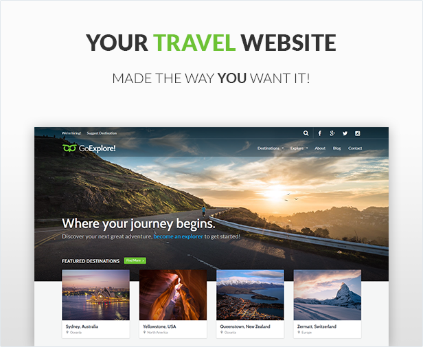 WordPress theme Travel WordPress Theme - GoExplore! (Travel)