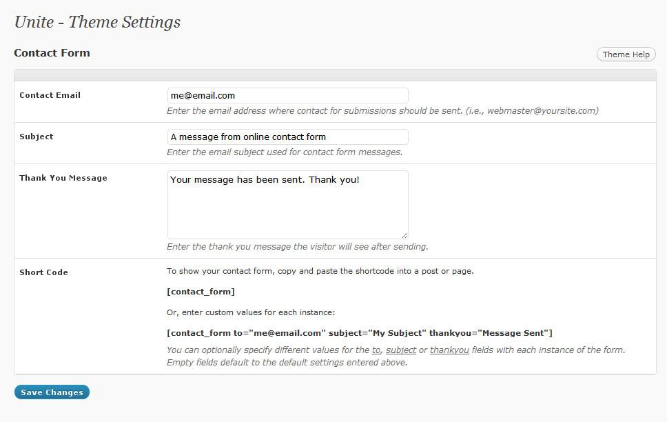 Contact Form Options- A Premium WordPress Theme
